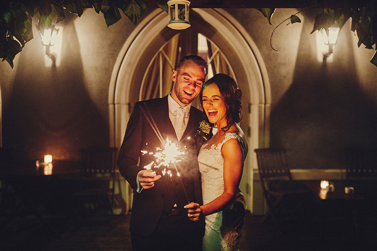 winter wedding sparklers