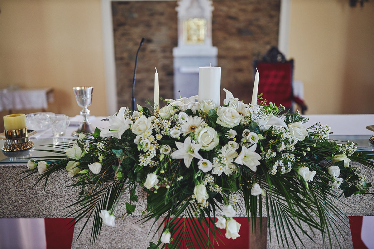 Church candle flowers