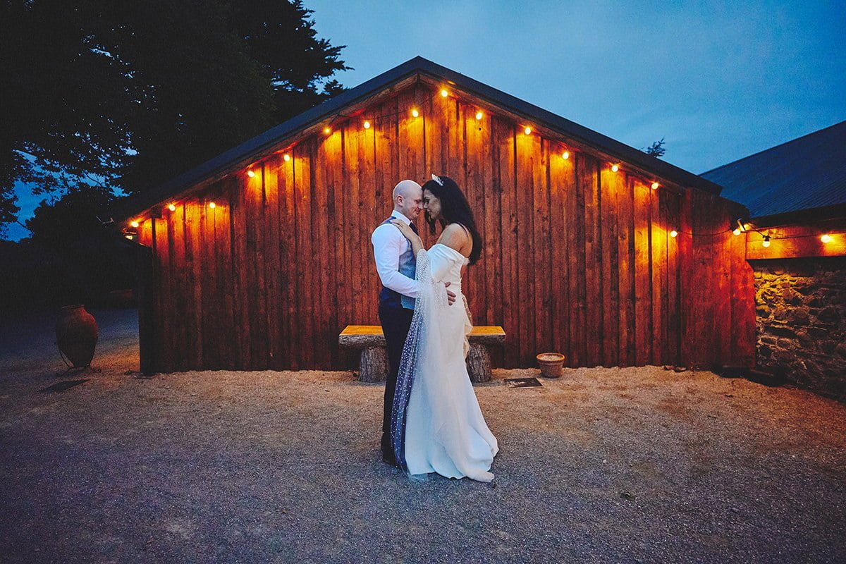 Barn wedding sunset